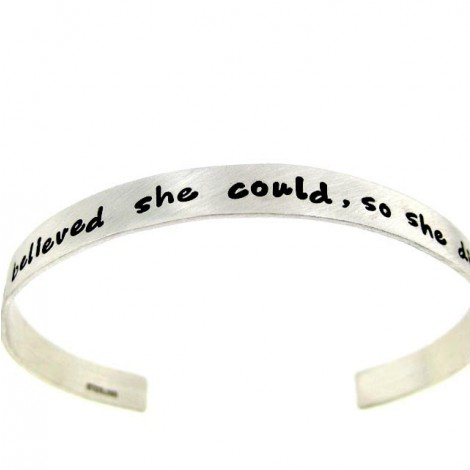 &Quot;She Believed She Could,So She Did&Quot; Sterling Silber Cuff Armband