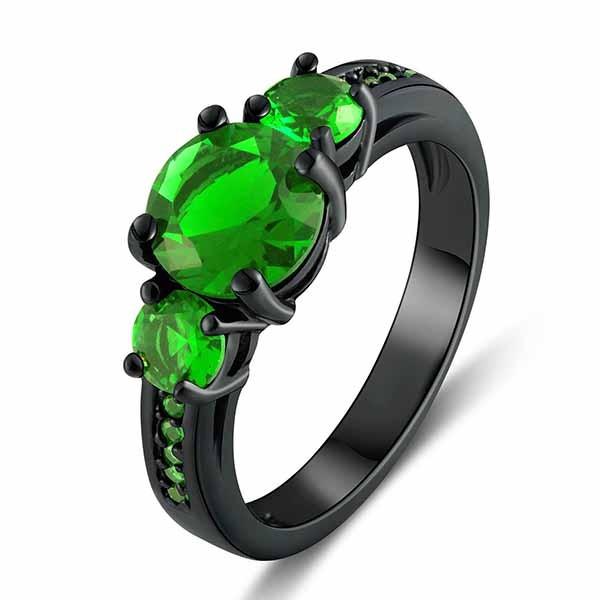 Exquisit Smaragd Verlobung Hochzeit Ring Damen Schwarz Gold