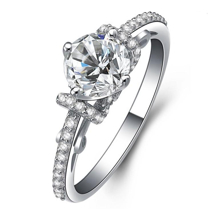 Exquisit 925 Sterling Silber Verlobung Hochzeit Ring Silber Ringe